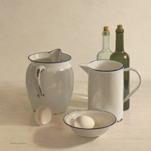 schilderij  jugs  bottles  eggs and a bowl