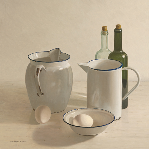 schilderij  jugs  bottles  eggs and a bowl