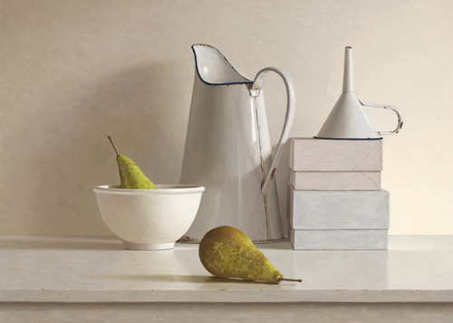 schilderij  pears  boxes jug bowl and funnel