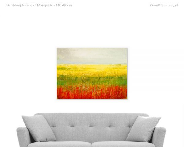 schilderij a field of marigolds