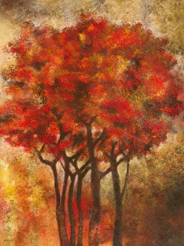 schilderij arbres rouges