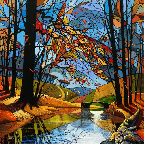 schilderij autumn stream