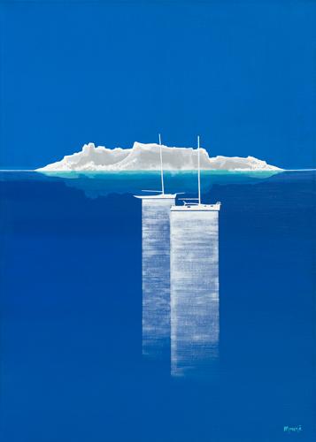 schilderij bateaux bleus