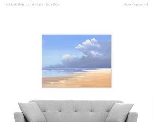 schilderij birds on the beach