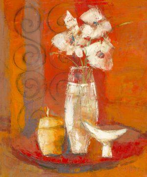schilderij bouquet a la coupe blanche