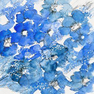 schilderij bouquet bleu