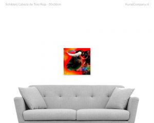 schilderij cabeza de toro roja