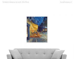 schilderij cafeterras bij nacht