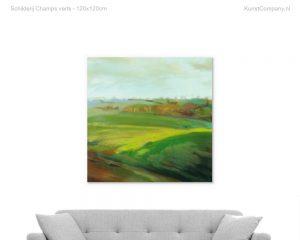 schilderij champs verts