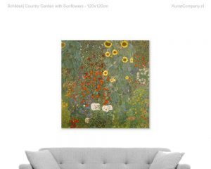 schilderij country garden with sunflowers