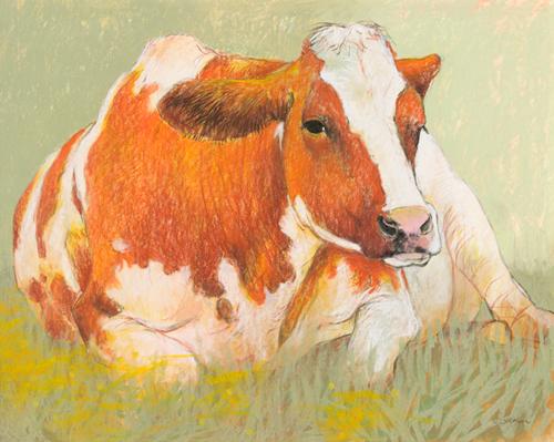 schilderij cow in the spring