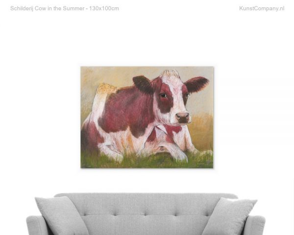 schilderij cow in the summer