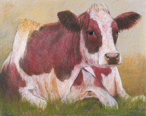 schilderij cow in the summer