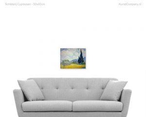 schilderij cypressen
