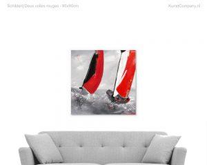 schilderij deux voiles rouges