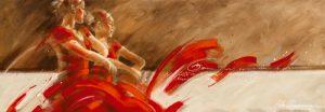 schilderij duo in red