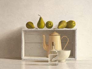 schilderij five pears on box
