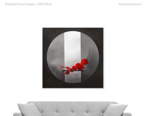 schilderij fleurs rouges