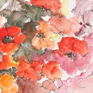 schilderij floraison rouge