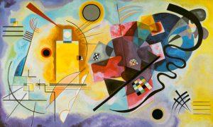 schilderij geel rood en blauw