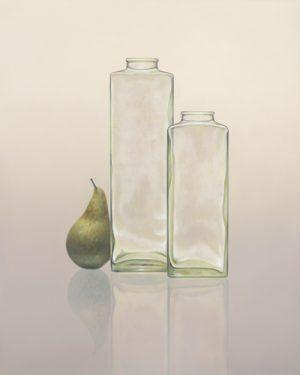 schilderij glazen flessen en peer