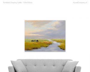 schilderij grazing cattle