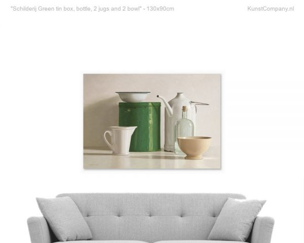 schilderij green tin box bottle  jugs and  bowl