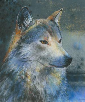 schilderij grijze wolf