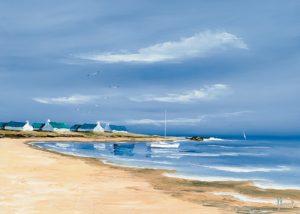 schilderij hameau au bord de la baie