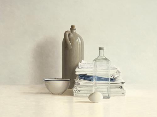 schilderij jar bottle egg bowl and cloths