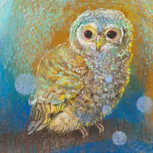 schilderij jonge uilen