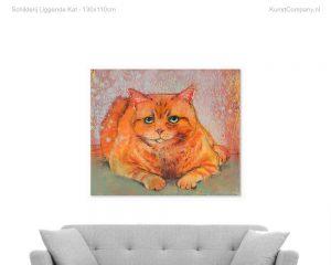 schilderij liggende kat
