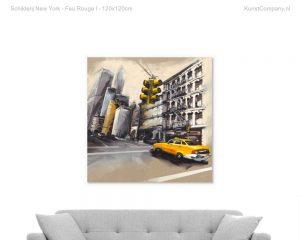 schilderij new york feu rouge i