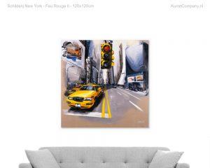 schilderij new york feu rouge ii