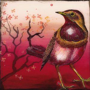 schilderij oiseau rouge i