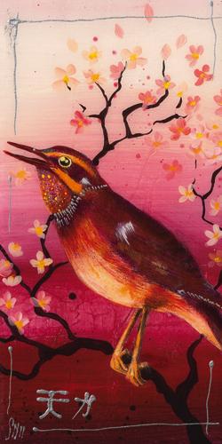 schilderij oiseau rouge ii