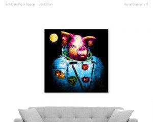 schilderij pig in space