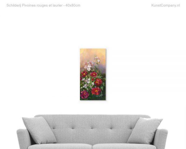 schilderij pivoines rouges et laurier