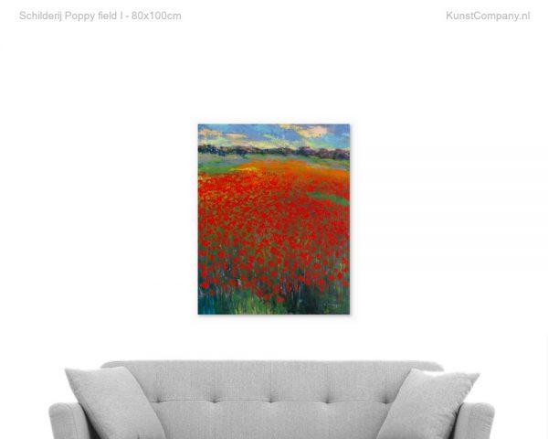 schilderij poppy field i