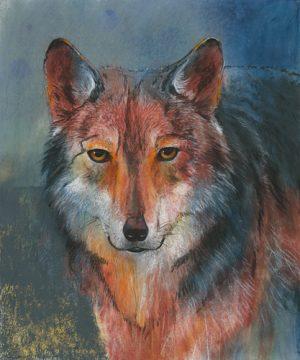 schilderij rode wolf