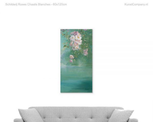 schilderij roses chaalis blanches
