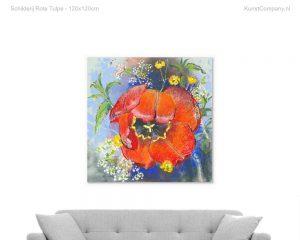 schilderij rote tulpe