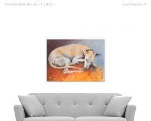 schilderij rustende hond