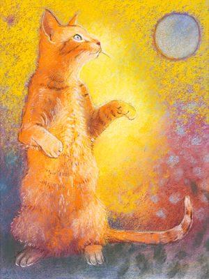 schilderij spelende kat