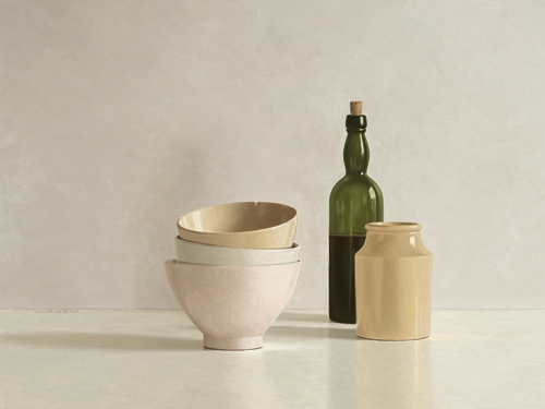 schilderij stacked bowls bottle and little jar