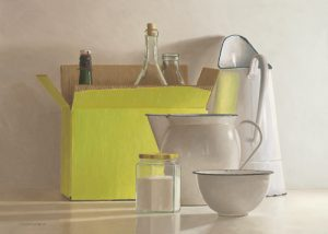 schilderij still life with yellow box bottles and