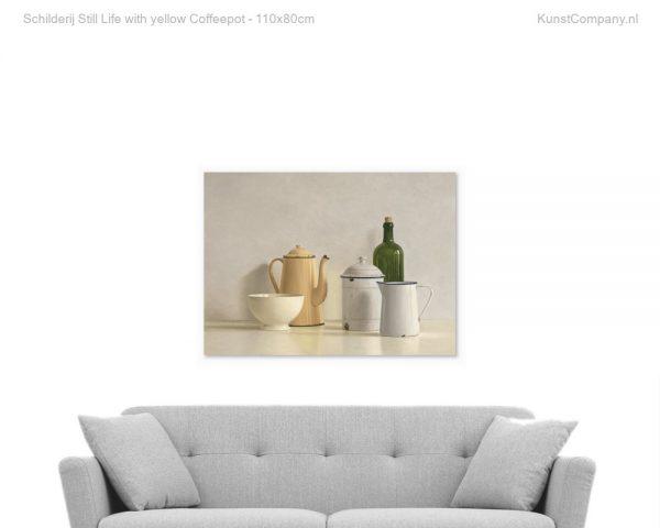 schilderij still life with yellow coffeepot