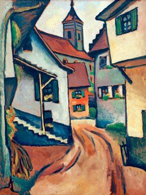 schilderij straat met kerk in kandern