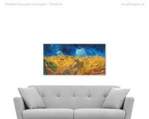 schilderij tarweveld met kraaien