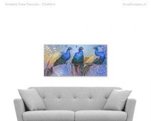 schilderij three peacocks